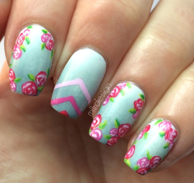 ombre with roses and chevron
