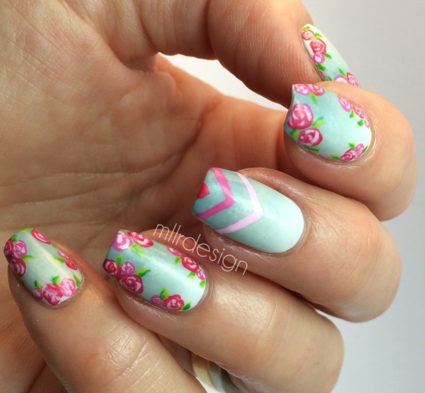 Gradient with roses and chevron.