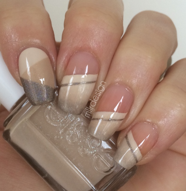 Beige nails, stripes and color block