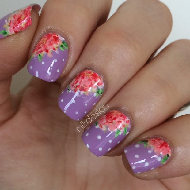 Vintage flowers on dots shiny top coat