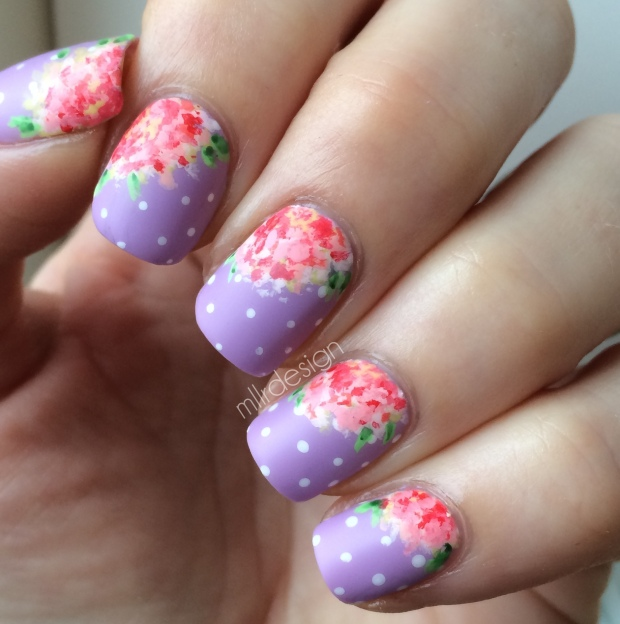 Vintage flowers on dots