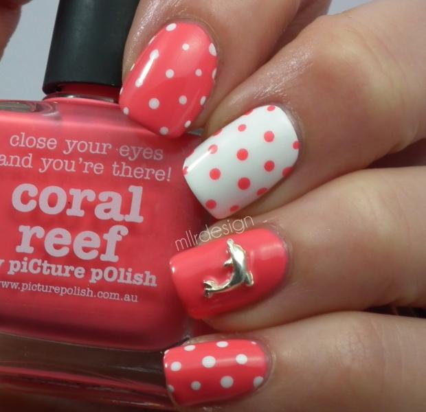 Coral/white dotticure