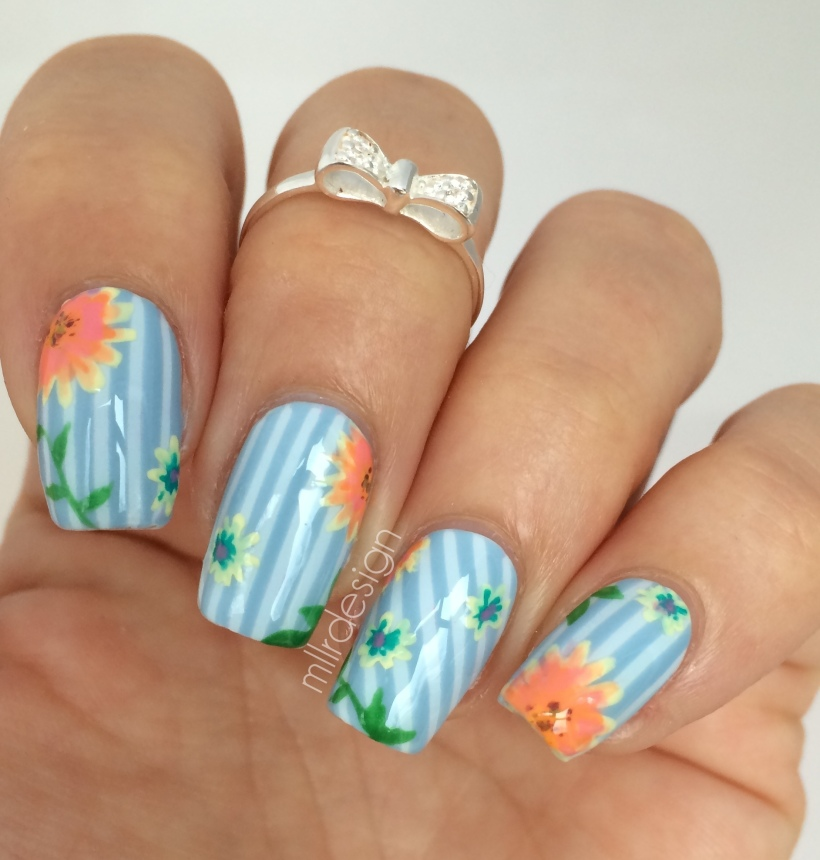 Striping with flowers
