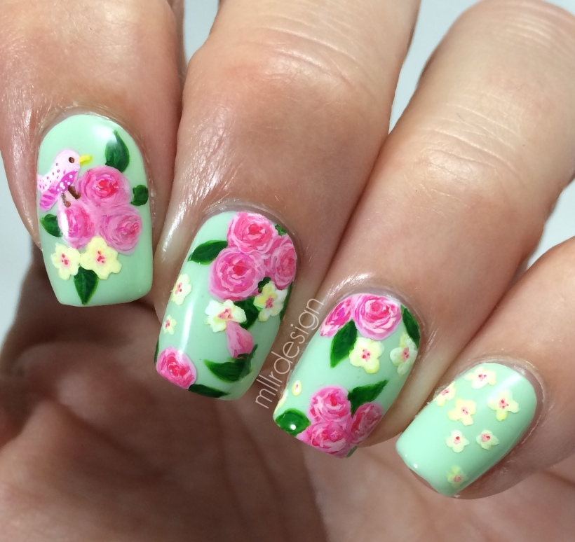 Florals on green