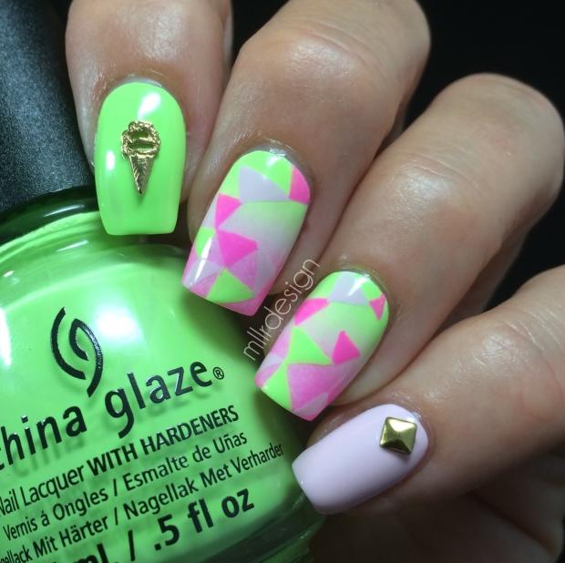 Pastel neon triangles