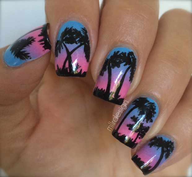 Palm trees on gradient