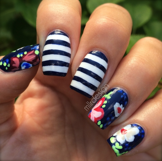 Navy flowers & stripes