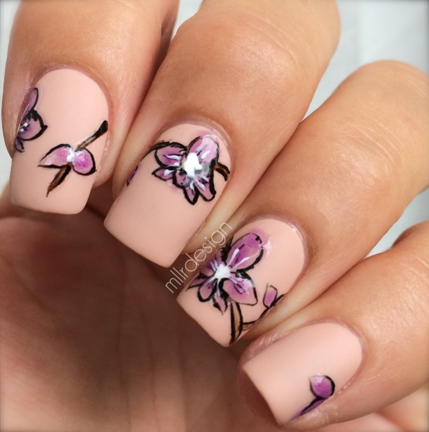 Shiny orchids on matte background