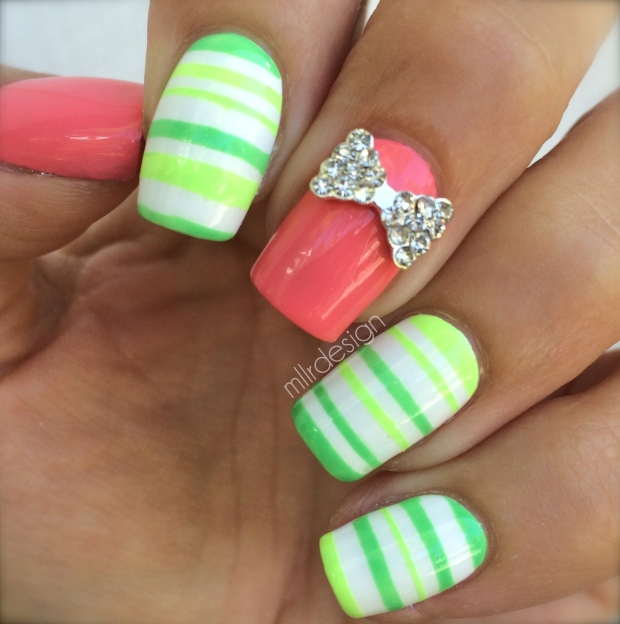 Green stripes with pink accent