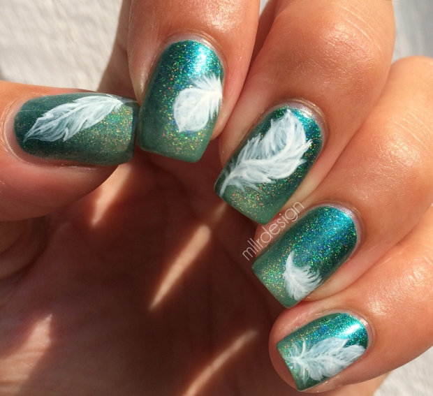 feather nails on holo gradient